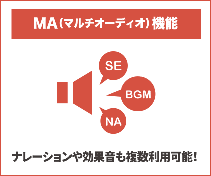 MA(マルチオーディオ)機能:ナレーションや効果音も複数利用可能!